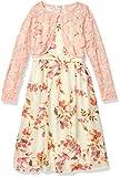 Speechless Girls' Chiffon Dress and Cardigan Set, Cream/Orange, 7