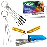 TCP Global Carburetor, Airbrush, Spray Gun 25 Piece Needle and Brush Cleaning Tool Set Kit - 18 Wire Needles, 5 Brushes, 1 Sharp Pick - Carb Cabon Jet Cleaner, Remove Nozzle Paint, Dirt, Tattoo Tube