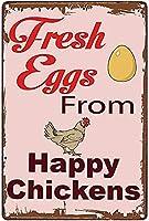 幸せな鶏からの新鮮な卵超耐久性のあるブリキの看板レトロなバー人々の洞窟カフェガレージ家の壁の装飾看板8x12インチ