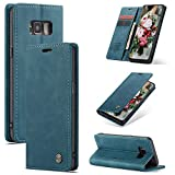 FMPC Compatible Funda para Samsung Galaxy S8 Plus, Libro Caso Soporte Plegable, Ranura para Tarjeta, Cubierta Cierre Magnético Protectora de Billetera Cuero PU Flip Folio Carcasa (Azul Verde)