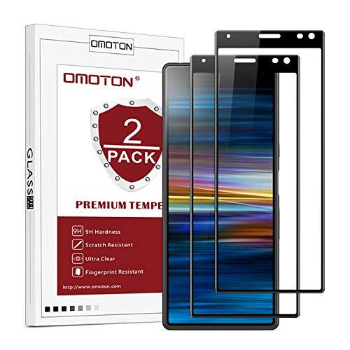OMOTON [2 Stück] Panzerglas Schutzfolie für Sony Xperia 10 [6 Zoll], völlige Abdeckung, 9H Festigkeit, Anti-Kratzer, Anti-Öl, Anti-Bläschen,