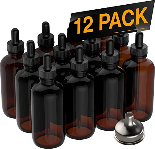 12 Pack Essential Oil Dropper Bottles (4 oz) 120ml Round Boston Empty Refillable Amber Bottle with Glass Dropper [ Free Stainless Steel Funnel ] for Liquid Aromatherapy Fragrance Lot