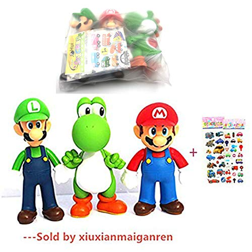 Jiahui Brand 3 Pcs Super Mario Bros Luigi Mario Yoshi PVC Action Figures Toy 47