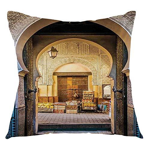 FULIYA Funda de cojín marroquí para puerta típica de Marruecos a la antigua Medina Medina Mediterránea histórica entrada foto decorativa cuadrada funda de almohada, 50,8 x 50,8 cm, color azul y beige