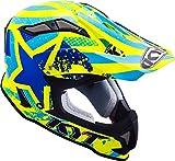 KYT ysea0015.3Casco Moto, Azul/Amarillo, S