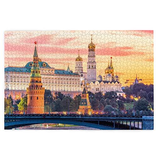 TTLUCKY Sierra calar de 1000 Piezas,Moscú Río Kremlin Mañana Rusia,Juegos Rompecabezas imágenes para Adultos y niños Regalo graduación de Boda Familiar