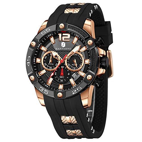 Montre Homme SAPPHERO Mouvement à Quartz 3ATM Montre Homme Etanche Bracelet en Silicone Chronographe Multifonctionnel Sport Décontracté Entreprises Meilleur Cadeau pour Les Hommes
