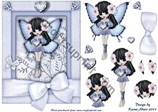 Card Front with Step by Step by Karen Adair The Sapphire Fairy