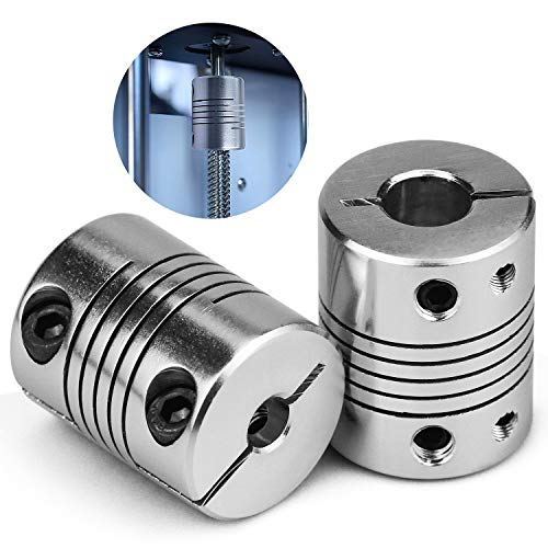 NATEE 2pcs Impresora de Acoplamiento, Eje Acoplador Impresora 3D, Acoplamiento Eje de Motor Impresora 3D, Acoplamiento Flexible Impresora 3D Diámetro Interior 5 * 8MM RepRap Anet A8 / A6 / Ender 3