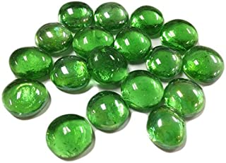 CYS EXCEL Glass Vase Fillers (1 Pound- Approx. 100) Multiple Color Choices Flat Marbles, Stone Gem for Centerpieces, Decorative Glass Beads, Glass gems (Gem Stone Green, 1LB)