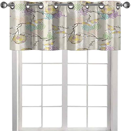 Cortinas de cocina cenefas, coloridas grúas Origami linternas de papel con ramas y flores cultivadas, 91.44 cm de ancho x 45.72 cm de largo cortinas para ventanas, color lila, rosa, beige y amarillo