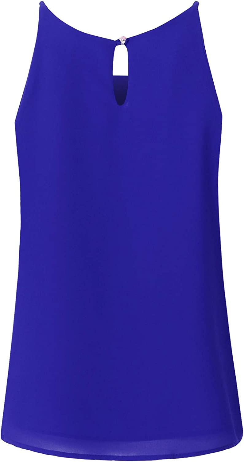 JSCEND Women's Round Neck Pleated Double Layered Chiffon Cami Tank Top (S~3XL)