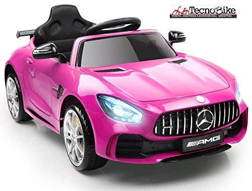 Auto Macchina Elettrica Per Bambini Mercedes Benz AMG GTR 12V 2 Motori SoftStart GT-R AMG Con Telecomando Parental Control Luci e suoni Mp3 (Rosa)