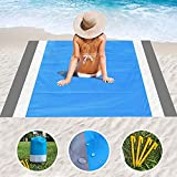 HALIHALL Beach Blanket Sandproof,79' X 83' for 4-7 Persons Beach Mat,Waterproof Pocket Picnic Blanket with 4 Stakes, Portable Picnic Mat,Outdoor Blanket for Travel, Camping, Hiking,Packable w/Bag