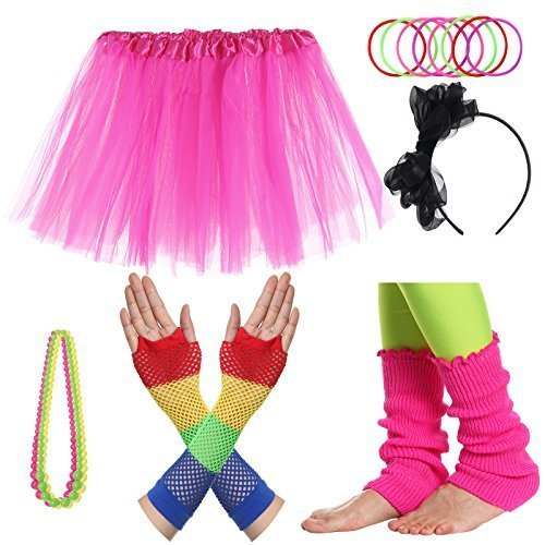 JustinCostume Girls' 80's Accessories Headwear Skirt Leg Warmers Gloves Pink A
