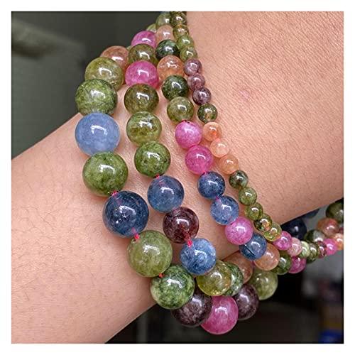 tggh Diy cuentas de piedra natural multicolor Jades calcedonia, cuentas espaciadoras redondas sueltas para hacer joyas suministros de bricolaje (diámetro del artículo: 10 mm aproximadamente 37 piezas)