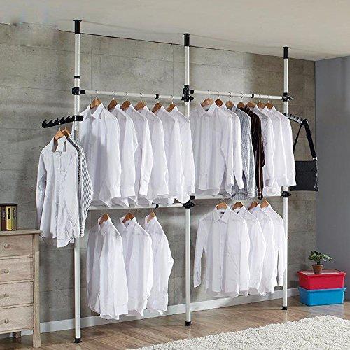 GOTOTOP Teleskop-System, Kleideraufbewahrungssystem Regalsystem Kleiderständer mit 2 Breiten Haken für den Heim- und Bekleidungsgeschäft (4 Querstangen)
