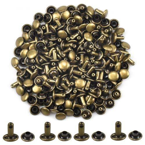 100 Set Remaches de Cuero Remaches de Doble Cara Bronce Remaches de Metal Tubular Studs para Bricolaje Artesanía de Cuero Bolsa Zapatos Decoración Reparaciones 8 × 8 mm