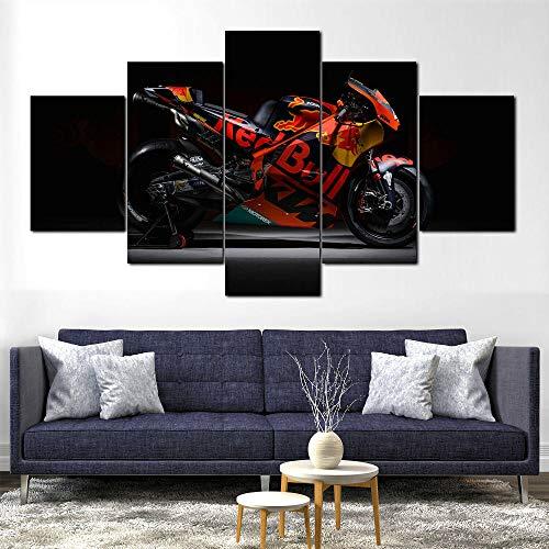 GUANGMANG - Cuadro Moderno En Lienzo 5 Piezas XXL - Lienzo Motogp Racing Bike Red Bull - 5 Panel Canvas Print Wall Art,150×80Cm