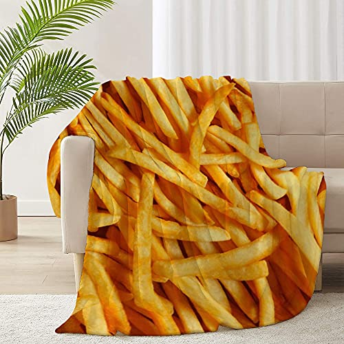 ARNOVIC Food Series Fried Chips Throw Blanket for Sofa Couch Suitable All Season Soft Flannel...
