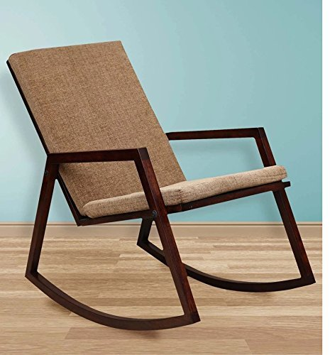DriftingWood Wooden Stylish Rocking Chair for Living Room   Chair for Adults with Cushions   Sheesham Wood, Warm Chestnut