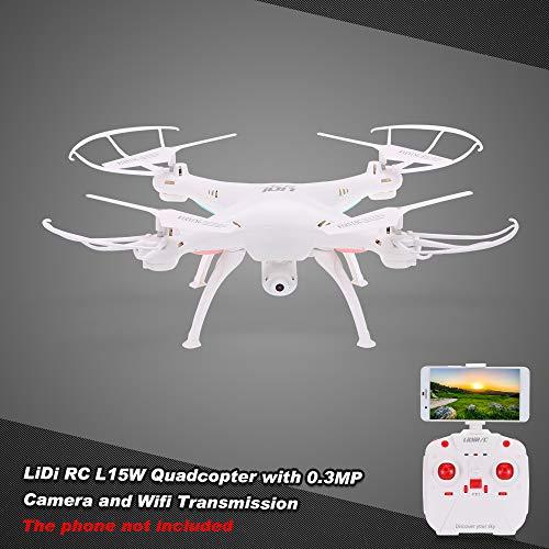 Mobiliarbus Original Lidi RC L15W 2.4G 4CH 6 Assi Gyro WiFi FPV Trasmissione RC Drone RTF Quadricottero con videocamera 0.3MP Flip 360 ° Flip One-Key-Return Altitude Hold