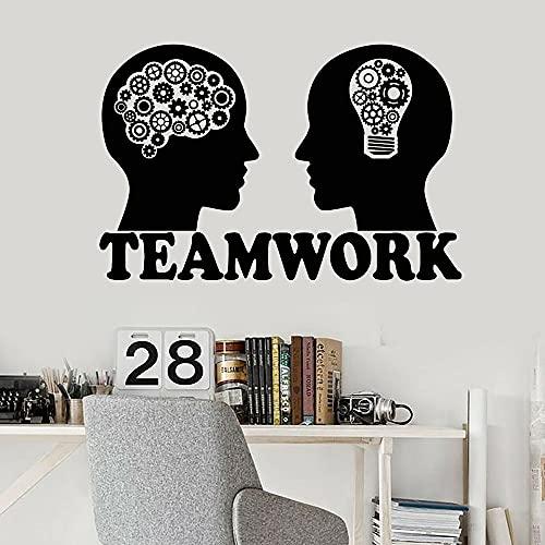 Vinilo adhesivo de pared de inteligencia emocional bombilla de cerebro equipo pegatinas de pared de trabajo en equipo decoración de pared para oficina uso 87 x 57 cm