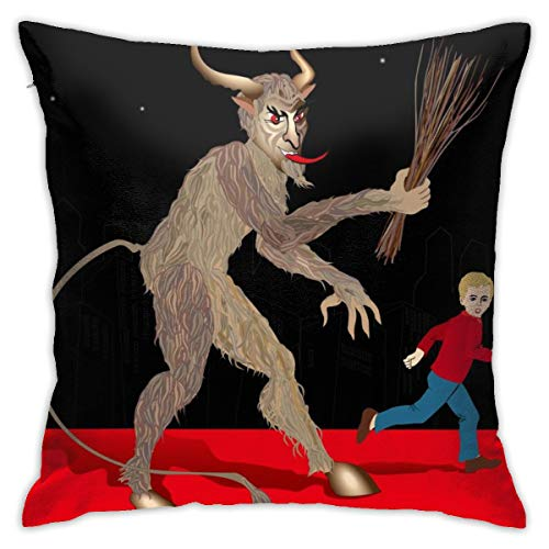 Yaateeh Merry Krampus Christmas Red Throw Pillow Covers Decorative 18x18 Inch Pillowcase Square Cushion Cases for Home Sofa Bedroom Livingroom