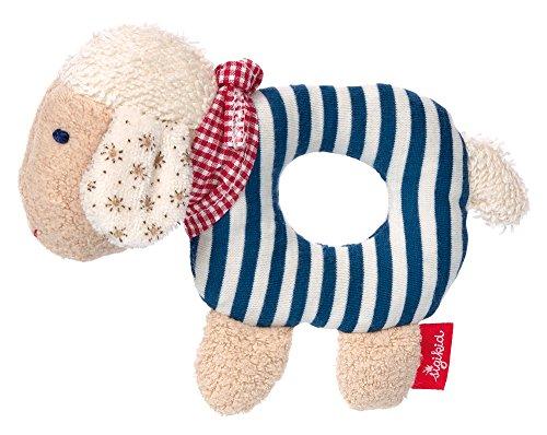 SIGIKID Mädchen und Jungen, Greifling Schaf Green mit Rassel, Babyspielzeug, empfohlen ab 0 Monaten, blau, 40502