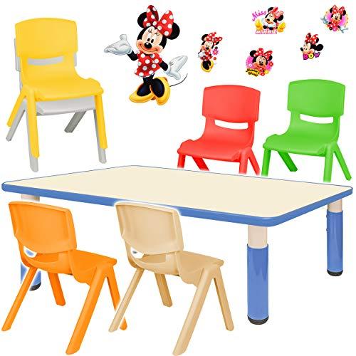alles-meine.de GmbH Sitzgruppe für Kinder - Tisch + 6 Kinderstühle - Größen & Motiv & Farbwahl - Disney Minnie Mouse / blau - höhenverstellbar - 1 bis 8 Jahre - Plastik - für INN..