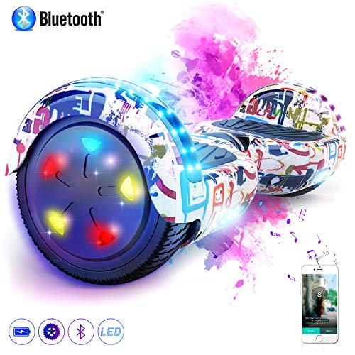 "MARKBOARD Patinete Eléctrico 6.5"" Hover Scooter Board con Luces LED, Scooter Electrico Flash Ruedas con Bluetooth, Scooter Monopatín Auto Equilibrio"