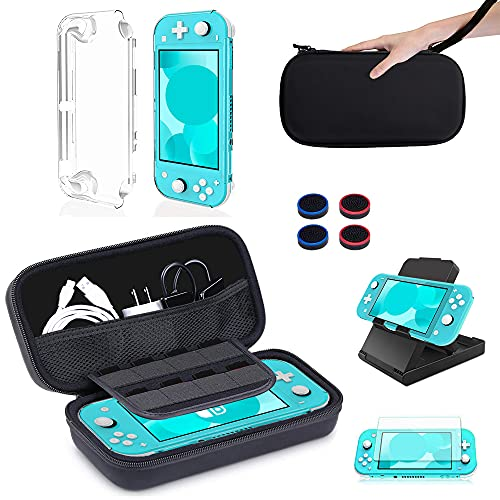 11-in-1-Etui-Kit für Nintendo Switch Lite Mit BOENFU-Etui und Zubehör für Nintendo Switch Lite, 3-in-1-Lite-Etui, Joy-Con-Daumengriffkappen, Displayschutzfolie, verstellbarem Ständer, tragbarem Gurt
