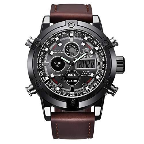 GLEMFOX heren sporthorloge alarm/kalender/chronograaf/lichtdisplay heren elektronisch horloge klassiek casual PU-polshorloge Riemen. bruin