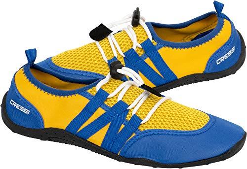 Cressi Unisex– Erwachsene Elba Pool Shoes Badeschuhe für Meer, Strand, Boot und Wassersport, Gelb/Royal Blau, 38 EU
