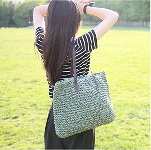 Handtas met hengsels voor de zomer, van handgeweven stro, grote capaciteit, leer
