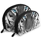 White Tiger Makeup Bag Set para Viajes y Almacenamiento Diario - Funda cosmética práctica con Forma de Concha