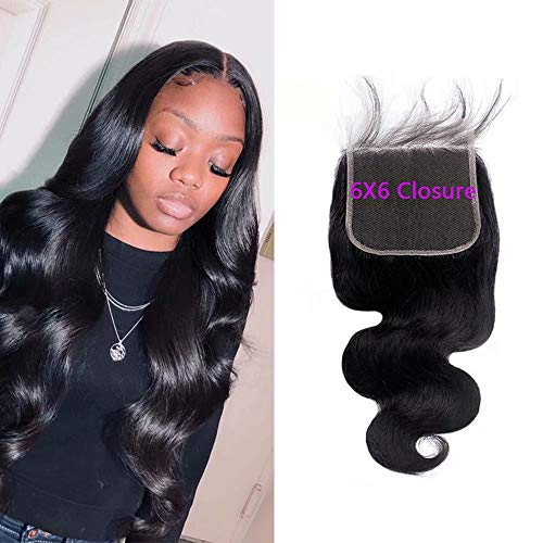 Maxine 6x6 inch Closure Brazilian Body Wave Hair Free Part Lace Closure 1 Piece 100% Unprocessed Human Hair Closure With Baby Hair Natural Color (10 inchs Closure)