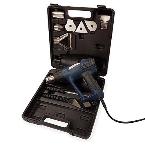 EBERTH 2000 Watt Heißluftpistole mit LCD-Display, Koffer und Zubehör (zwei-Stufen Heißluftgebläse, stufenlose Temperatureinstellung 80°C - 600°C, umfangreiches Zubehör)