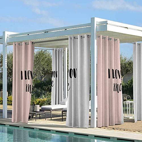 ParadiseDecor I Love You More Outdoor Curtain Curtains Panels for Patio&Garden Typographic Hand Written Phrase on Minimal Geometric Background Coral White Black 84W x 63L Inch