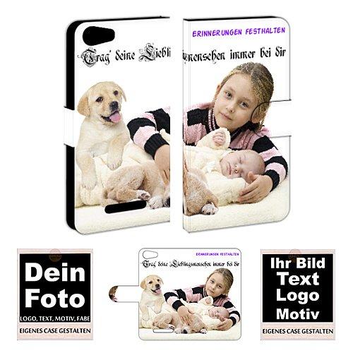 Wiko Handyhülle Personalisierte Handy Tasche mit Foto Bild Text Druck zum selbst gestalten (Wiko Lenny 2, Mit eigenes Foto Text Druck)