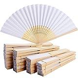BETESSIN 24 Piezas Abanicos Plegables de Mano Abanicos de Papel y Bambú Paper Fan Color Blanco para Decoración Fiesta Baile Boda Casa Oficina DIY Regalo (Blanco, 24pcs)
