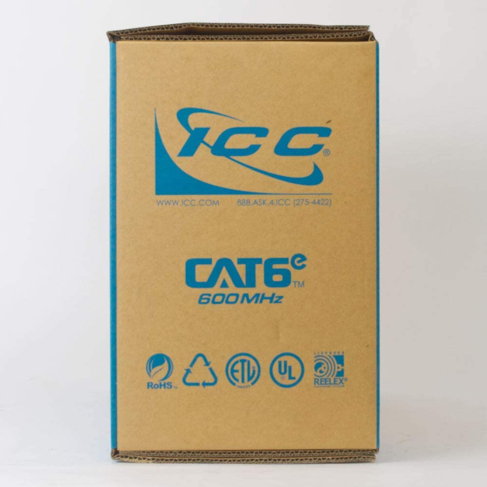 CMR Jacket in a Pull Box ICC 600MHz CAT6e Bulk Cable with 23 AWG UTP Solid Wires 1000 Feet in Yellow