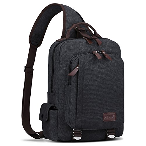 S-ZONE Men s 13 Inch Laptop Single Chest Shoulder Diagonal Gym Backpack Sack Satchel Outdoor Crossbody Pack (Dark Grey)