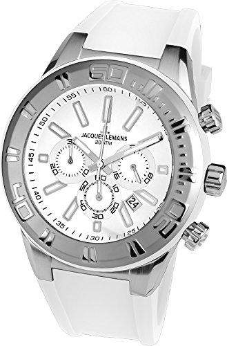 Jacques Lemans Herren Armbanduhr Chronograph Quarz Silikon 1-1820C