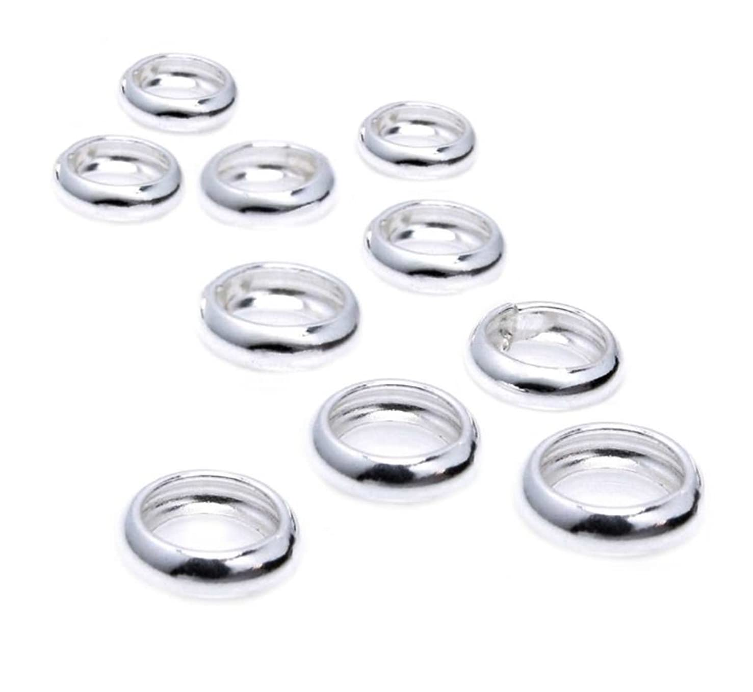 50pcs Sterling Silver 5mm Round Ring Spacer Beads (Large hole ~3.0mm) for Jewelry Craft Making Findings SS45-BB