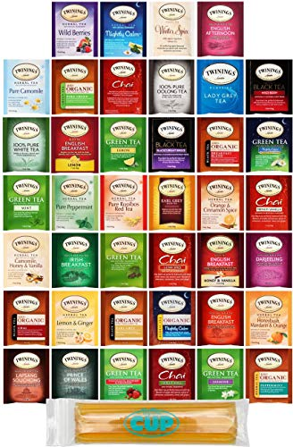 Twinings Assorted Tea Variety Pack - 40 ct Hot Tea Sampler: Camomile, Chai, Black, Herbal, Rooibos, Green, Earl Grey English Breakfast, Organic with By The Cup Honey Sticks