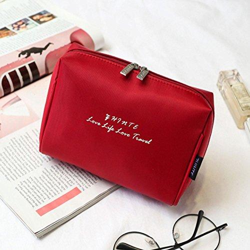 QCBC Sacchetto cosmetico compongono l'organizzatore di immagazzinaggio del chiodo di Caso/Contenitore di vanità (Rosso)