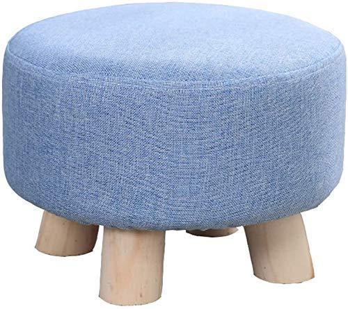 MUZIDP Taburetes de Tela, Marco de Madera Maciza, tapete Antideslizante, Capacidad de cojinete de Carga Fuerte, Cinco (Color : 25cm, Size : Blue)