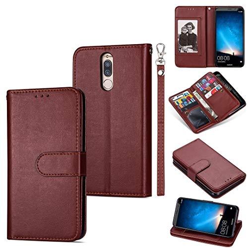 GUODONG Carcasa de telefono for Huawei Mate 10 Lite Funda de Cuero Horizontal Flip Horizontal Flip, con Ranuras y Soporte for Tarjeta y cordón Funda Trasera para Smartphone (Color : Brown)