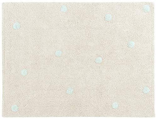Happy Decor Kids HDK-Alfombra Topos-Mint - Beige, Azul - 100% algodón (Reciclado) - 120x 160